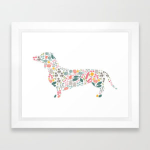 dachshund-floral-watercolor-art-framed-prints