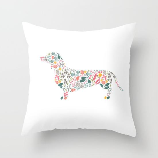 dachshund-floral-watercolor-art-pillows